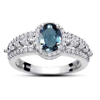 Glitzy Rocks Sterling Silver London Blue Topaz and White Topaz Oval Ring