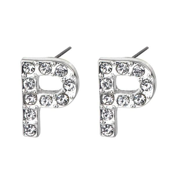 Shop Silver P Rhinestone Initial Stud Earrings Free