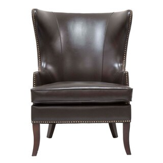 Gray Manor Stephen Gold/Brown Wood/Faux Leather Wing Chair