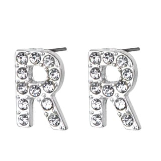 Silver R Rhinestone Initial Stud Earrings