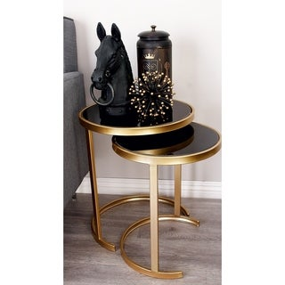 Black/Gold Metal Accent Tables (Pack of 3)