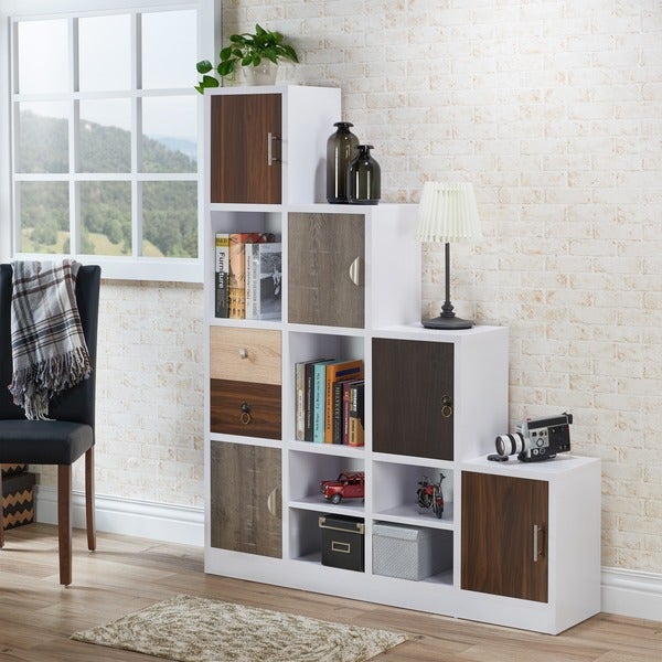 Furniture Of America Arla White Multi Storage Staircase Bookcase/Display  Shelf