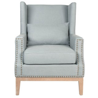 Gray Manor Randy Blue Natural Wood/Oak/Polyester Club Chair