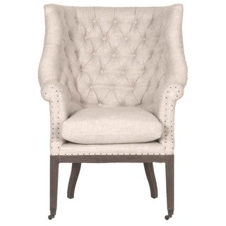 Gray Manor Josie Cream/Brown Wood/Oak/Linen Club Chair