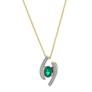 Suzy Levian Modern 14K Yellow Gold Emerald and Diamond 0.85 TCW Birthstone Pendant