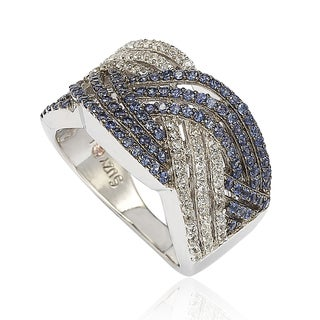 Suzy Levian Crossover 1.56 TCW Blue and White Sapphire and Diamond Sterling Silver Ring