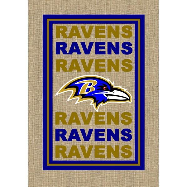 Burlap Baltimore Ravens Flag
