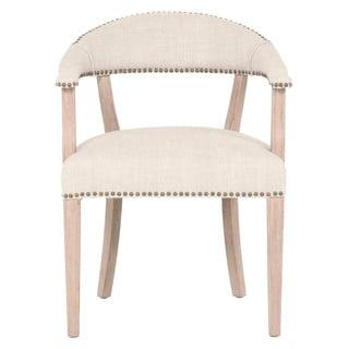 Gray Manor Cecil Natural/Cream Wood/Oak/Linen Accent Chair
