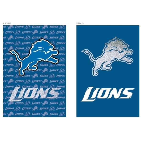 Suede and Glitter Double-sided Detroit Lions Flag