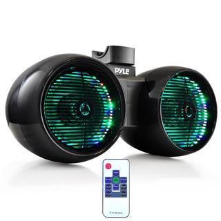 Pyle PLMRWB652LEB Black 6.5 inch 400 watt Water resistant Multi color LED Dual Marine Tower Speakers