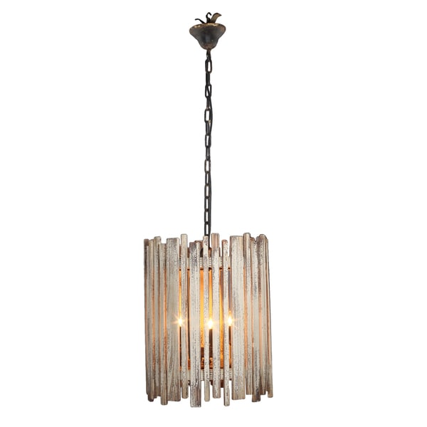 Slatted Wood Chandelier - Brown