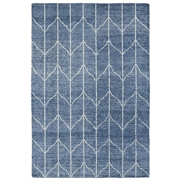 Handmade Collins Denim Blue & Ivory Nomad Rug - 9'6 x 13'