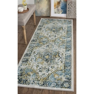 Alise Expo Aubusson Blue/Beige Traditional-style Runner Rug (2'7 x 7'3)