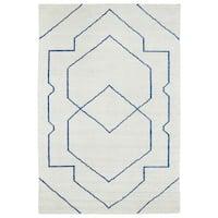 "Handmade Collins Ivory & Blue Nomad Rug - 9'6"" x 13'"