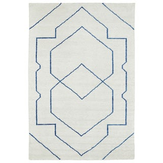 "Handmade Collins Ivory & Blue Nomad Rug (9'6"" x 13'0)"