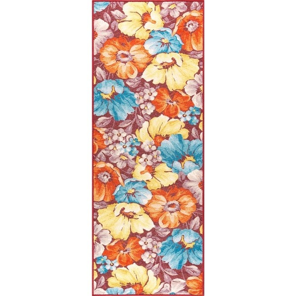 Alise Expo Contemporary Floral Multi-colored Nylon Indoor Rug (2'7' x 7'3')
