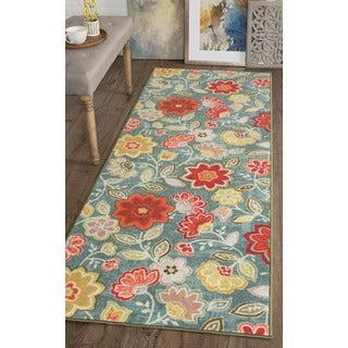 Alise Expo Blue Floral Transitional-style Area Rug (2'7 x 7'3)