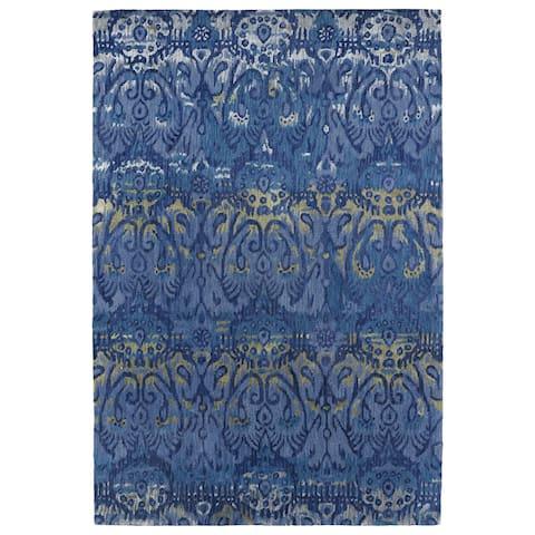 "Hand-Tufted Wool & Viscose Anastasia Blue Ikat Rug (9'6"" x 13'0) - 9'6"" x 13'"