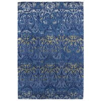 "Hand-Tufted Wool & Viscose Anastasia Blue Ikat Rug - 9'6"" x 13'"