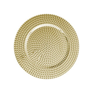 Jay Chargers Goldtone/Silvertone Melamine Set of 4 13-inch Beaded Charger Plates