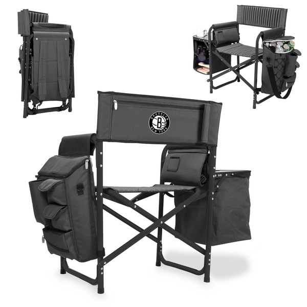 Picnic Time Grey/Black Brooklyn Nets Fusion Chair
