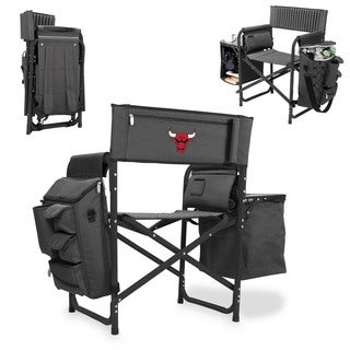 Picnic Time Chicago Bulls Black Aluminum, Polyester, Rubber Fusion Portable Outdoor Chair