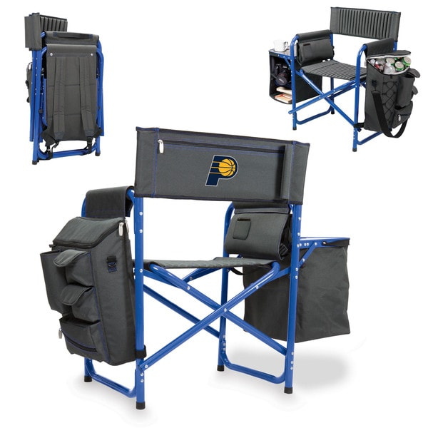 Picnic Time Fusion Chair Grey, Blue Aluminum, Polyester, Rubber Indiana Pacers Portable Outdoor Chair
