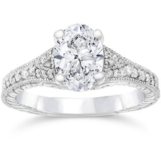 14k White Gold 1 1/4ct TDW Vintage Oval Diamond Engagement Ring