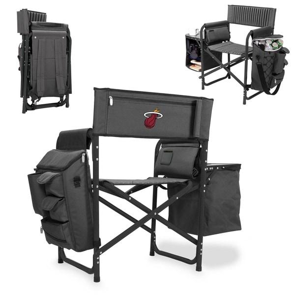 Picnic Time Miami Heat Fusion Grey/Black Folding Chair