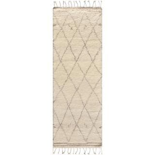 "Pasargad Moroccan Ivory Silk/Wool Hand-knotted Trellis Runner (2'7 x 6') - 2'7"" x 6' Runner"