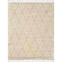 Moroccan Trellis Ivory Silk and Wool Hand-knotted Rug (6' x 9') - 6 x 9