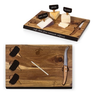 Picnic Time Miami Heat Delio Bamboo Cheese Board and Tools Set
