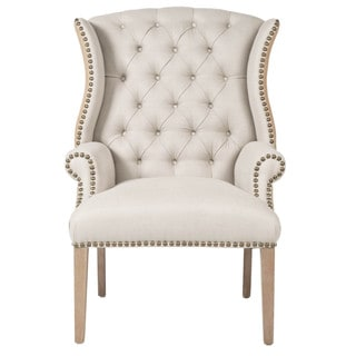 Gray Manor Nathan Oak/Wood/Linen Tufted Arm Chair