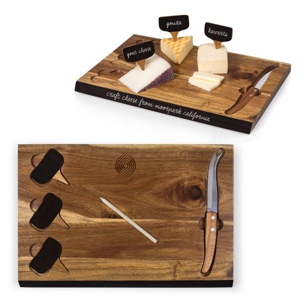 Picnic Time Delio Bamboo Portland Trailblazers Cheese Board and Tools Set - brown