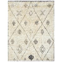 Pasargad Ivory Wool Hand-knotted Moroccan Rug (6' x 8') - 6' x 8'