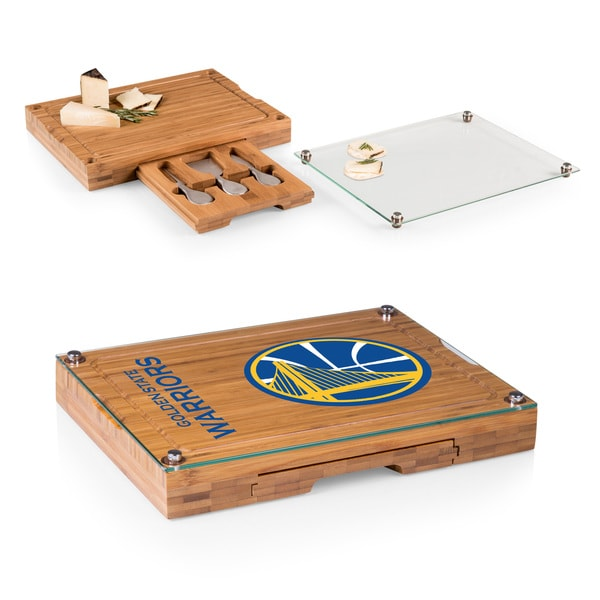 Picnic Time Golden State Warriors Concerto Bamboo Cutting Board/Tray and Cheese Tools Set