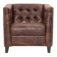 Gray Manor Warren Brown and Gold Wood and Leather Sofa Chair