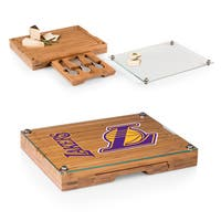 Picnic Time Los Angeles Lakers Concerto Bamboo/Stainless Steel/Glass Cutting Board/Tray and Cheese Tools Set