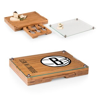 Picnic Time Brooklyn Nets Concerto Bamboo Cutting Board/Tray and Cheese Tools Set