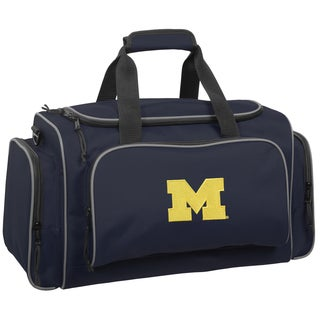 WallyBags Michigan Wolverines Collegiate Blue Polyester 21-inch Multi-Compartment Duffel Bag