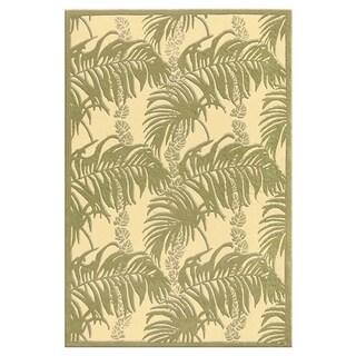 Contemporary Green/Tan Silk/Wool Area Rug (3'6 x 5'6)