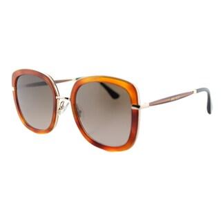 Jimmy Choo JC Glenn QAN Light Women's Havana Glitter Plastic Square Sunglasses with Brown Gradient Lens