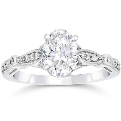 14k White Gold 1 1/10ct TDW Vintage Oval Diamond Engagement Ring Clarity Enhanced