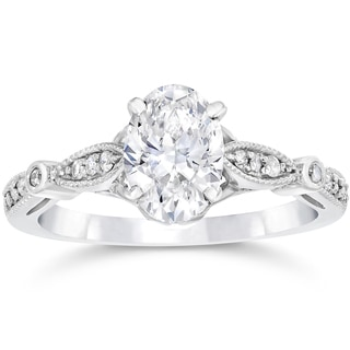 14k White Gold 1 1/10ct TDW Vintage Oval Diamond Engagement Ring (H-I,I1-I2)