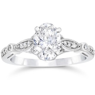 14k White Gold 1 1/10ct TDW Vintage Oval Diamond Engagement Ring