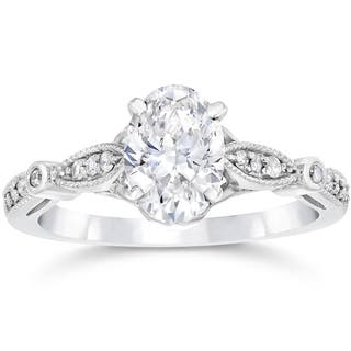 Buy oval engagement rings online at overstock our best wedding 14k white gold 1 110ct tdw vintage oval diamond engagement ring junglespirit Choice Image