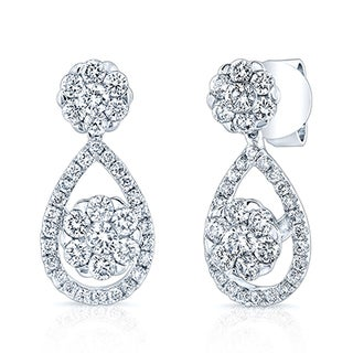 14k White Gold 1ct TDW Diamond Cluster Tear Drop Earrings ( H-I, VS-SI)