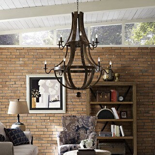 Modway Trebuchet Steel and Distressed Hardwood 12-light Chandelier