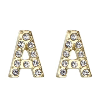 Gold A Rhinestone Initial Stud Earrings