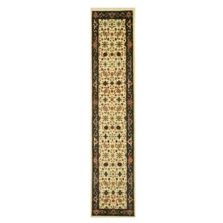 EORC Super Mahal Ivory/Gold Wool Hand Knotted Rug (2'6 x 12')